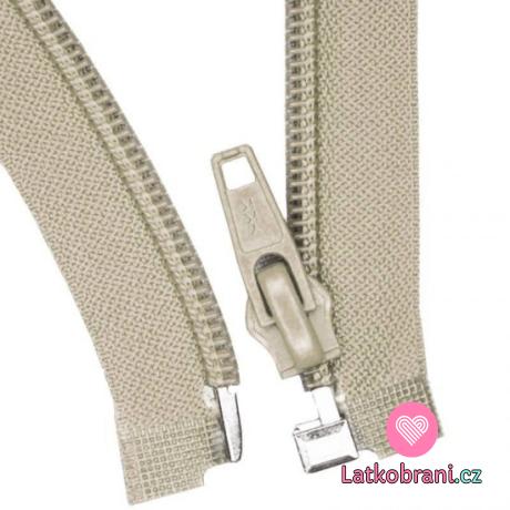 Zip spirálový dělitelný béžový 60 cm