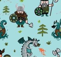 Úplet vikingové, drak na modré