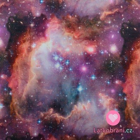 Teplákovina potisk galaxie v růžové