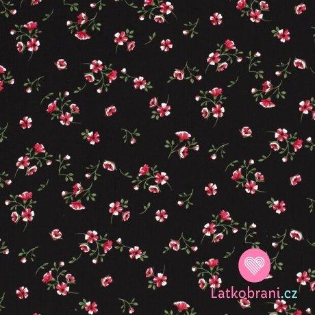Viskóza potisk drobné květiny na černé