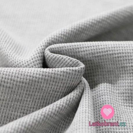 Bavlna s vaflovou vazbou jednobarevná šedé melé