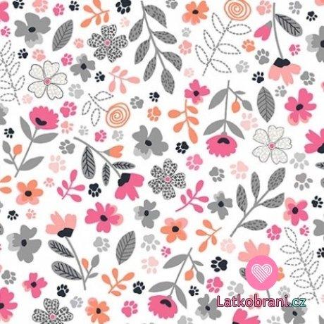 Bavlněné americké plátno potisk květiny mezi tlapičkami na bílé