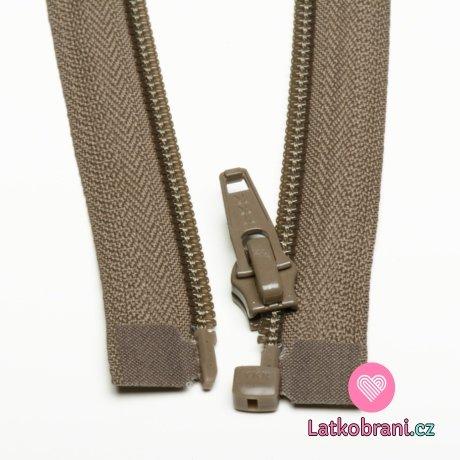 Zip spirálový dělitelný kávový tmavší 40cm