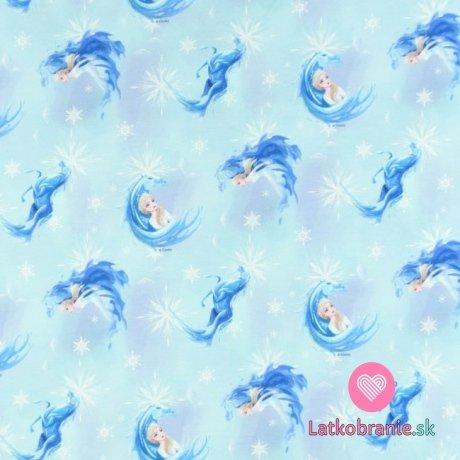 Teplákovina počesaná potisk Elsa a ledový kůň mezi vločkami na modré