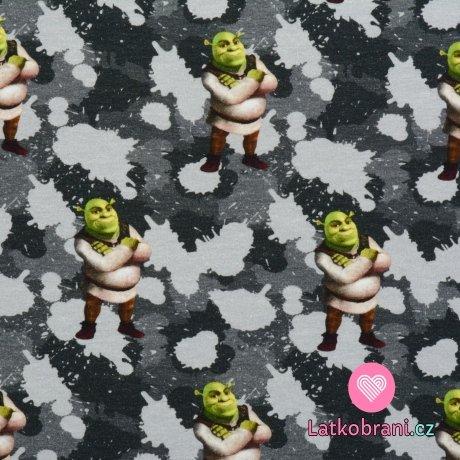 Teplákovina potisk Shrek na šedém maskáči