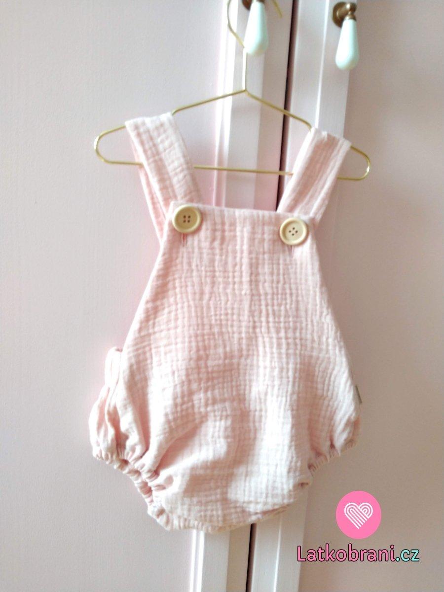 Dětské, mušelínové šortky s laclem