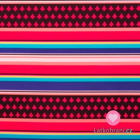 Plavkovina (lycra) barevné proužky
