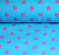 Úplet puntíky růžové na tyrkys (střední)