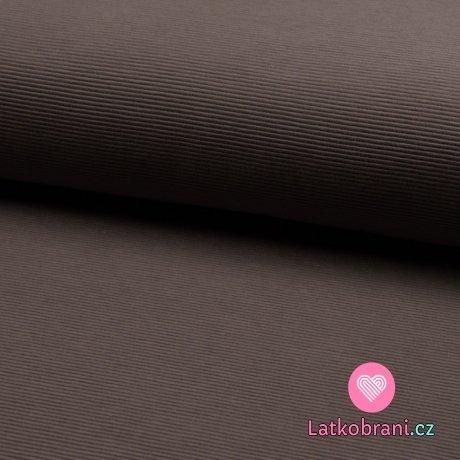 Jednobarevný úplet žebrovaný (ottoman) zaprášený hnědý
