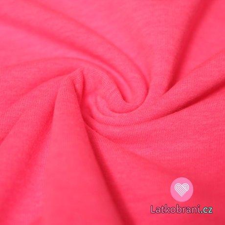 Teplákovina růžová neon melé