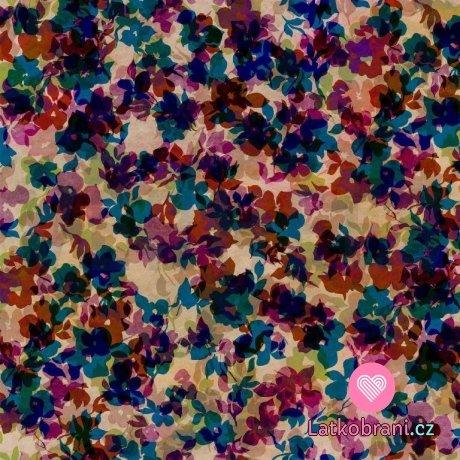 Softshell zimní potisk květy růžové ve třech vrstvách