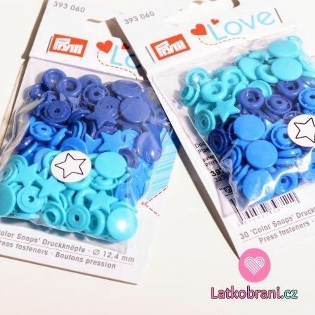 Patentky plastové Color snaps PRYM LOVE - hvězdičky modrotyrkysové