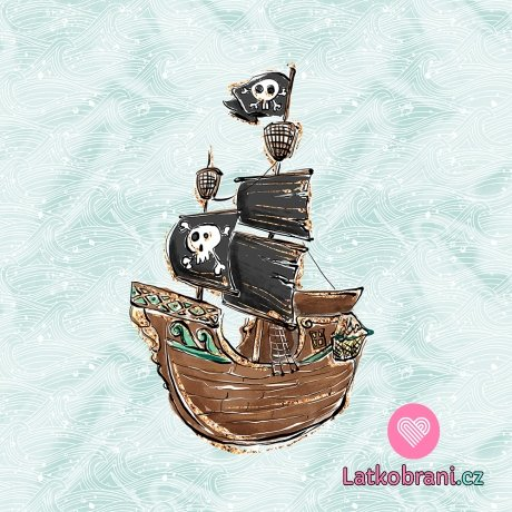 Panel pirátská loď na modrozelené