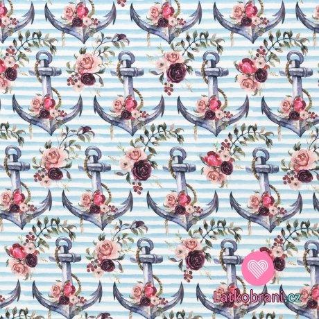Úplet potisk námořnické kotvy a kytice růží na modro - bílých proužcích