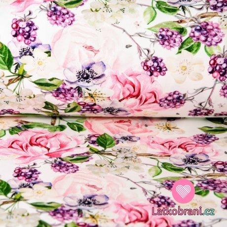 Teplákovina ostružiny s květy na smetanové