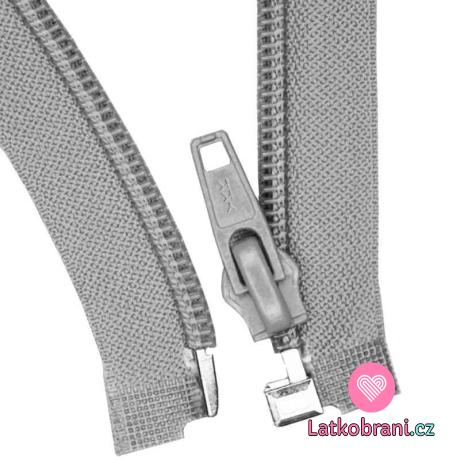 Zip spirálový dělitelný šedý 35 cm