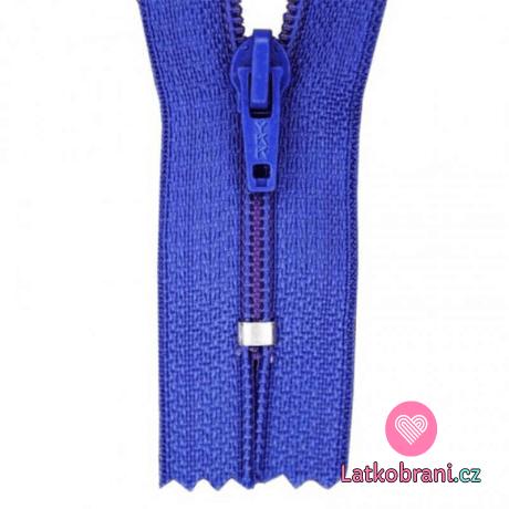 Zip spirálový nedělitelný kobaltově modrý 12 cm