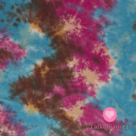 Úplet potisk batika růžovo - hnědo - modrá