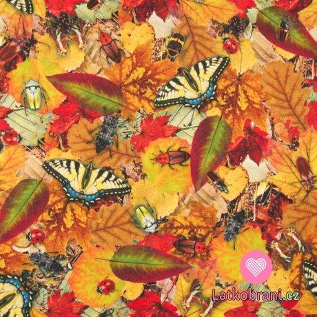 Úplet potisk život hmyzu na podzimním listí