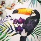 Teplákovina potisk tukani mezi exotickými květinami