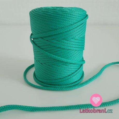 Šňůra oděvní kulatá  PES 4 mm světlý smaragd