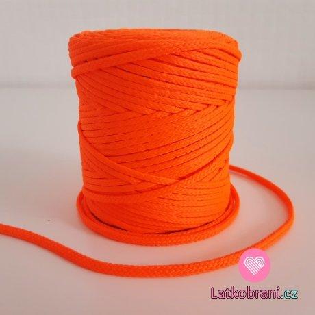 Šňůra oděvní kulatá  PES 4 mm neonově oranžová