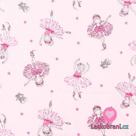 Bavlněný úplet baletky na růžové