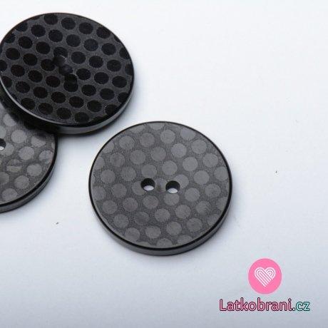 Knoflík kulatý, černý s puntíky
