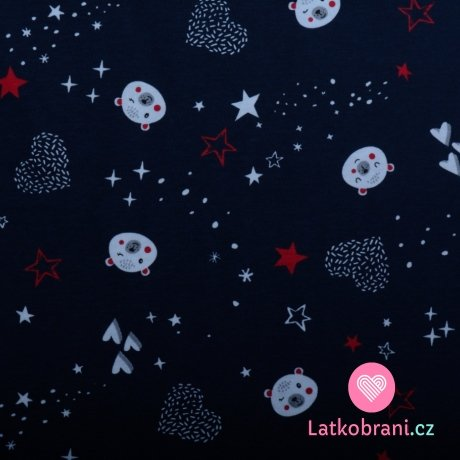 Bavlněný úplet medvídek a srdce ve hvězdách na temně modré