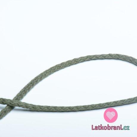 Šňůra kulatá oděvní bavlna 4 mm khaki