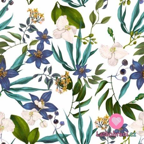 Úplet potisk do modra laděné orchideje na bílé