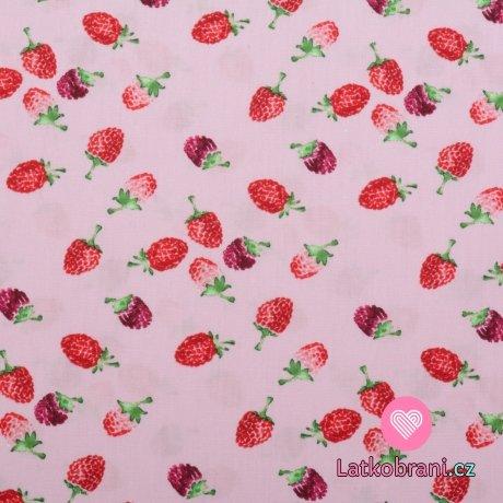 Bavlněný popelín potisk maliny na růžové