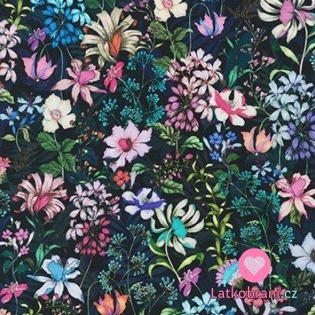Bavlněný americký popelín potisk jarní květy na černé