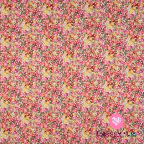 Bavlněná halenkovina (voál) potisk růžovo-žlutá kvítka na bílé
