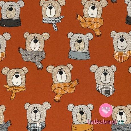 Teplákovina potisk medvídek Méďa na cihlové