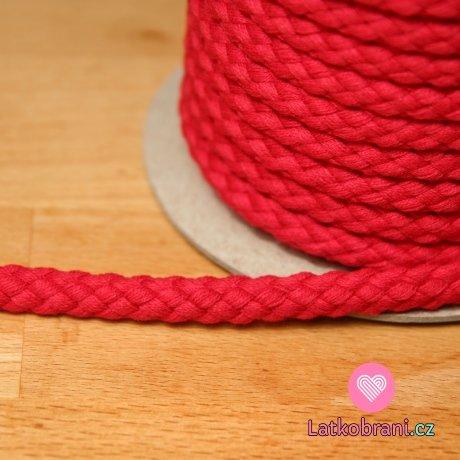 Šňůra kulatá oděvní BAVLNA 9 mm červená