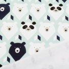 Teplákovina potisk hlavy medvídků na zelinkavo-modré