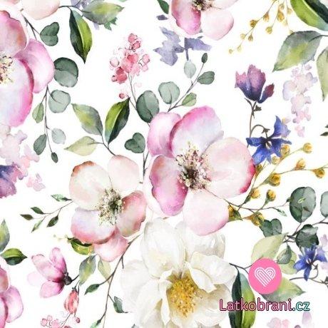 Úplet potisk jabloňový květ drobnější design