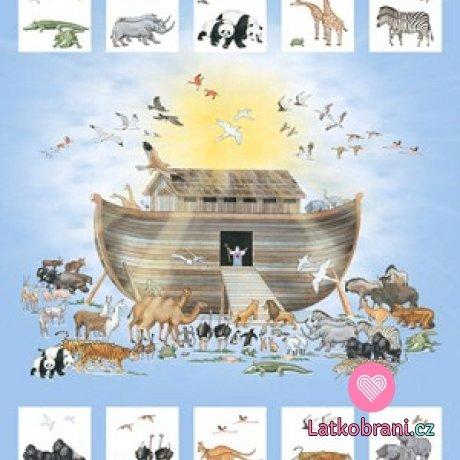 Bavlněná látka panel Noemova archa - plátno