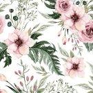 Úplet potisk šípková růže s listy na bílé