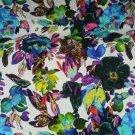 Úplet potisk malované květy laděné do zeleno - modré