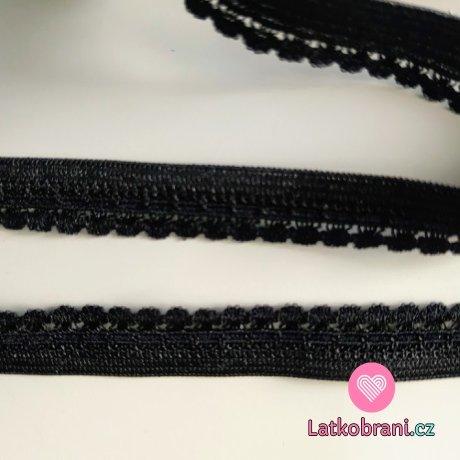 Pruženka prádlová, ozdobná černá 10,5 mm