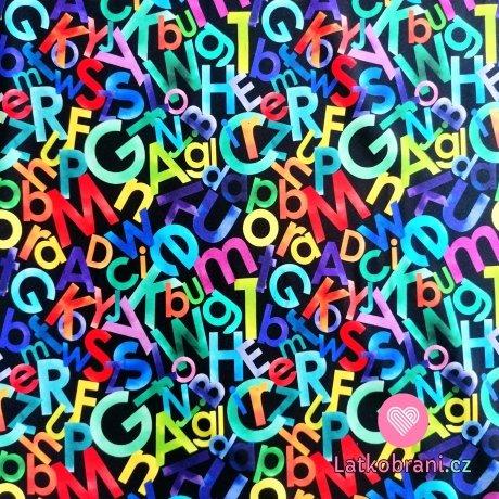 Teplákovina potisk barevná abeceda na černé