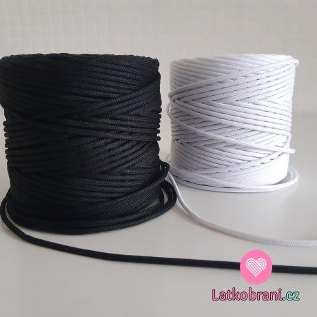 Šňůra oděvní kulatá PES 3mm bílá