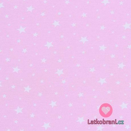 Bavlněný úplet hvězdičky na růžové