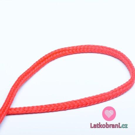 Šňůra kulatá oděvní PES 7 mm červená pentličková