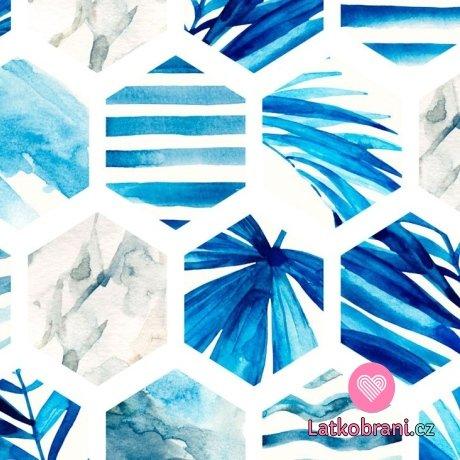 Teplákovina šestiúhelník modré listy na smetanové
