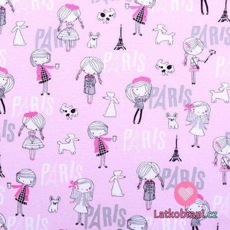 Bavlněný úplet holčička turistka v Paříži