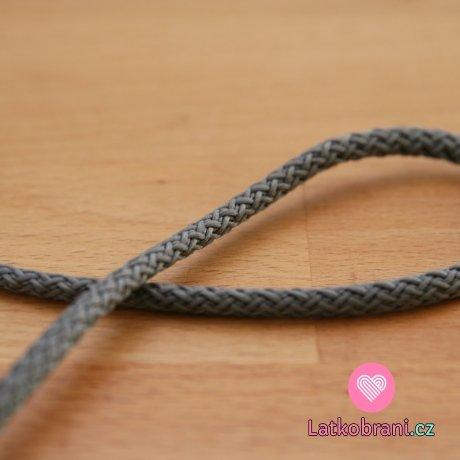 Šňůra kulatá oděvní PES 4 mm šedá střední