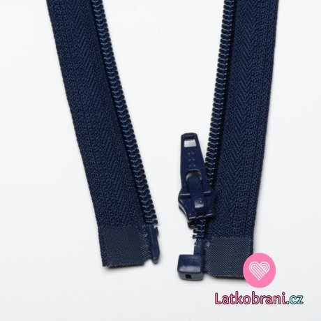 Zip spirálový dělitelný námořnicky modrý 40cm